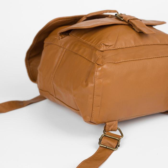Рюкзак молодёжный, отдел на шнурке, 2 наружных кармана, 2 боковых кармана, цвет коричневый - фото 415622516