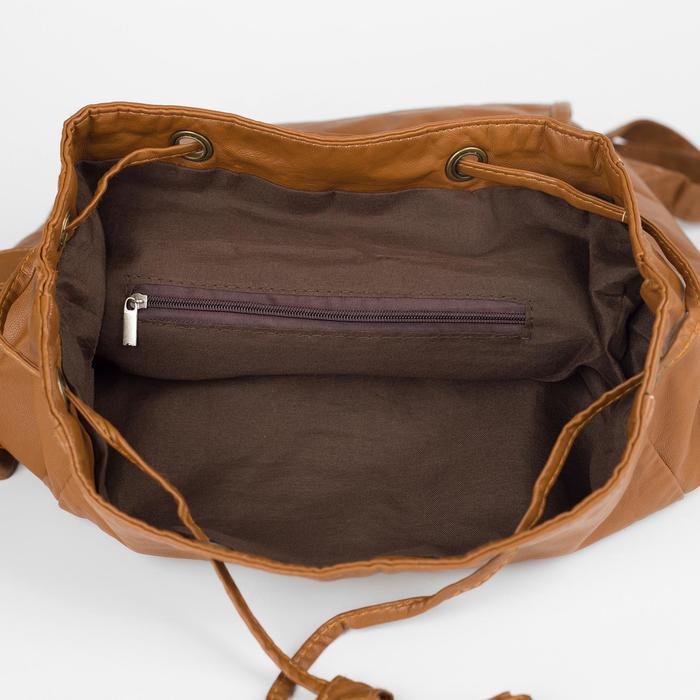 Рюкзак молодёжный, отдел на шнурке, 2 наружных кармана, 2 боковых кармана, цвет коричневый - фото 415622517
