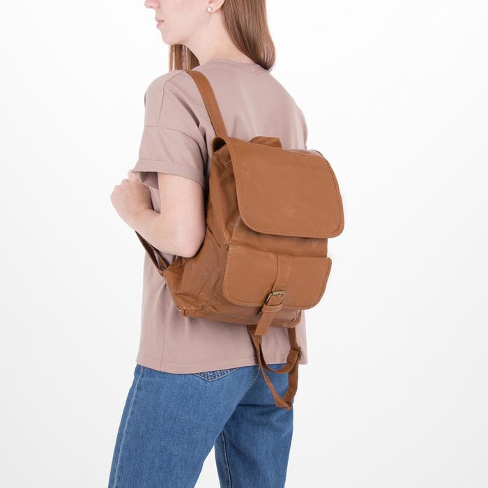 Рюкзак молодёжный, отдел на шнурке, 2 наружных кармана, 2 боковых кармана, цвет коричневый - фото 415622518