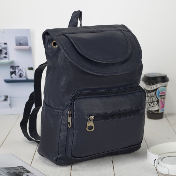 Рюкзак молодёжный, отдел на шнурке, 2 наружных кармана, 2 боковых кармана, цвет синий