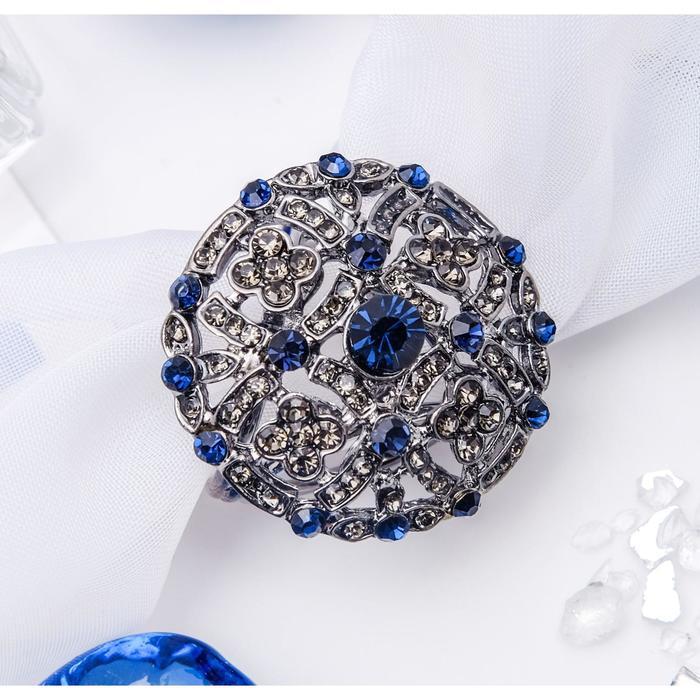 """Кольцо для платка """"Ажур"""", круг, цвет сине-серый в сером металле"""