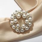 """Зажим для платка """"Жемчужинка"""", цвет белый в серебре"""