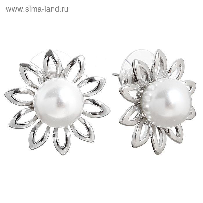 """Серьги с жемчугом """"Цветок"""" подсолнух, цвет белый в серебре"""