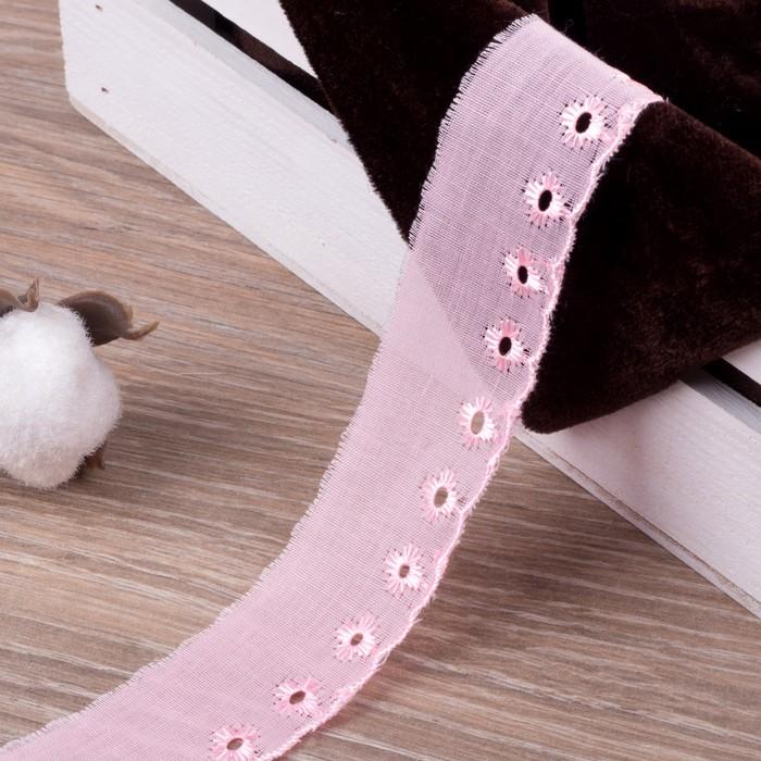 Кружево «Шитьё», 30 мм × 14 ± 1 м, цвет розовый
