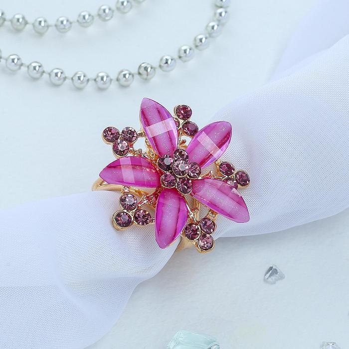 """Кольцо для платка """"Цветок"""" магнолия, цвет фиолетовый в золоте"""
