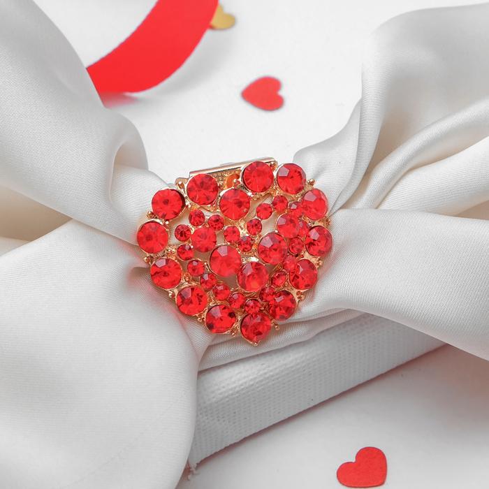 """Зажим для платка """"Сердце"""", цвет красный в золоте"""