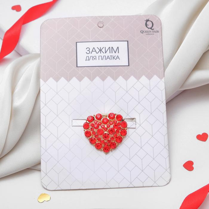 """Зажим для платка """"Сердце"""", цвет красный в золоте - фото 540593932"""