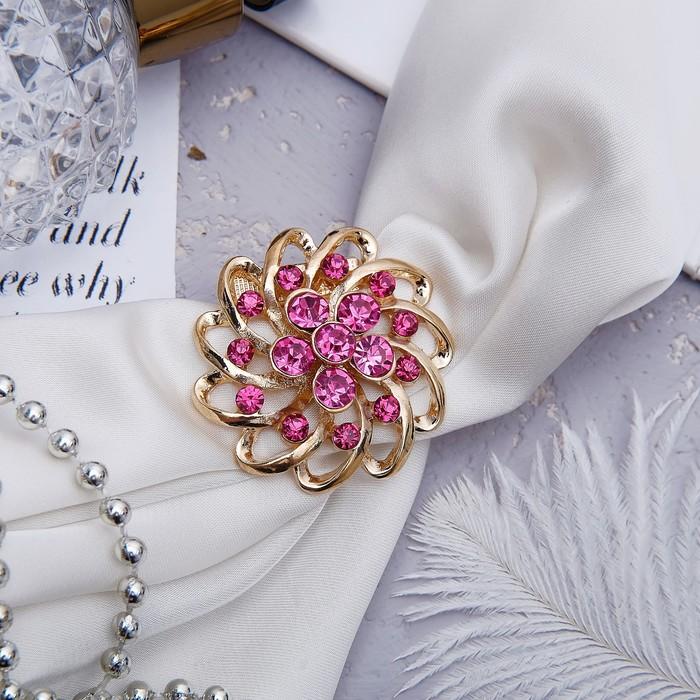 """Зажим для платка """"Цветок"""", волна, цвет розовый в золоте"""