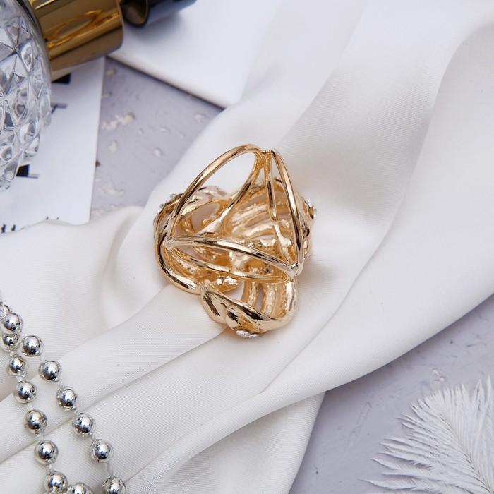 """Кольцо для платка """"Трио"""", цвет белый в золоте - фото 419630990"""