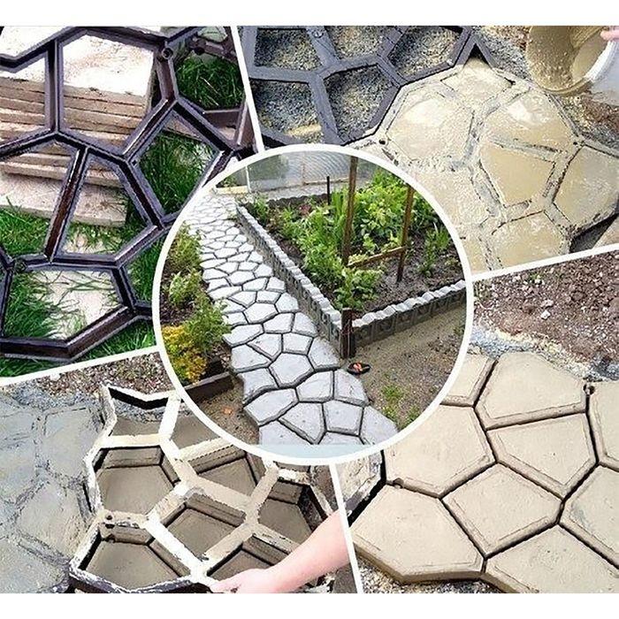 заливка садовой дорожки с помощью формы
