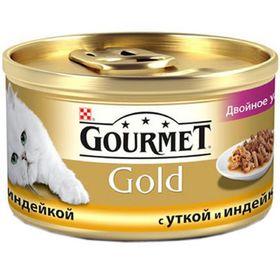 Влажный корм GOURMOLD ДУО для кошек, утка/индейка, ж/б, 85 г