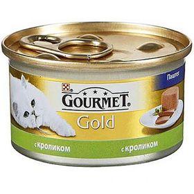 Влажный корм GOURMET GOLD для кошек, паштет кролик, ж/б, 85 г