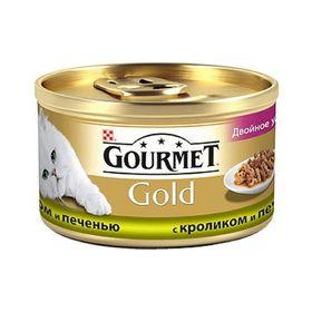 Влажный корм GOURMET GOLD ДУО для кошек, кролик/печень, ж/б 85 г