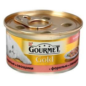 Влажный корм GOURMET GOLD для кошек, кусочки форель/овощи, ж/б 85 г