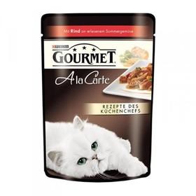 Влажный корм GOURMET ALCTE для кошек, говядина/овощи в подливе, пауч, 85 г