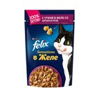 Влажный корм FELIX Sensations для кошек, утка/шпинат в желе, пауч, 85 г
