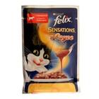 Влажный корм FELIX Sensations для кошек, говядина/томат в соусе, пауч, 85 г
