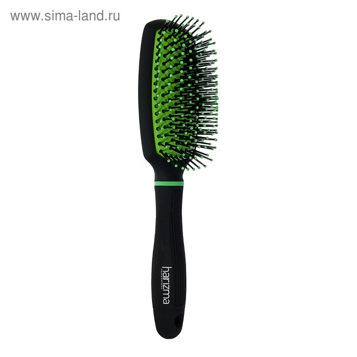 Расчёска массажная широкая, цвет чёрно-зелёный