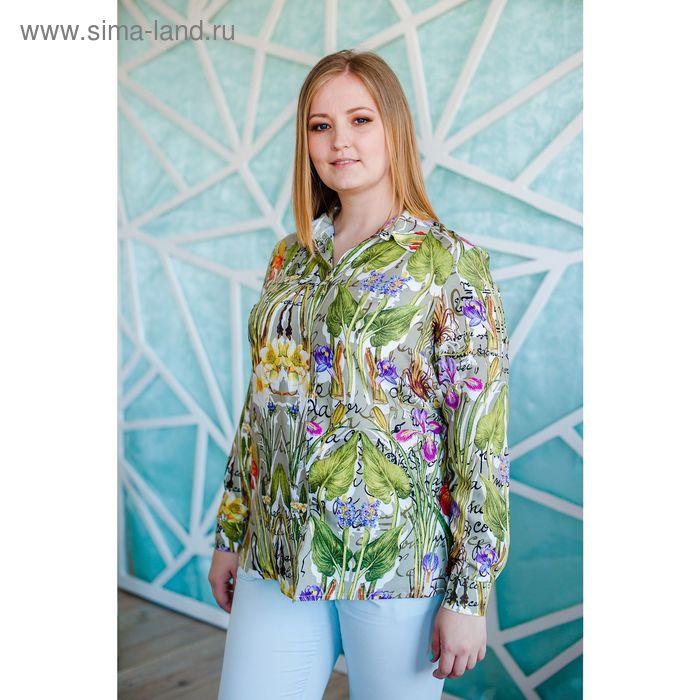 Блузка женская Vera Nicco, размер 50 (XL), рост 168 см, цвет молочный/зелёный (арт. 1562 С+)