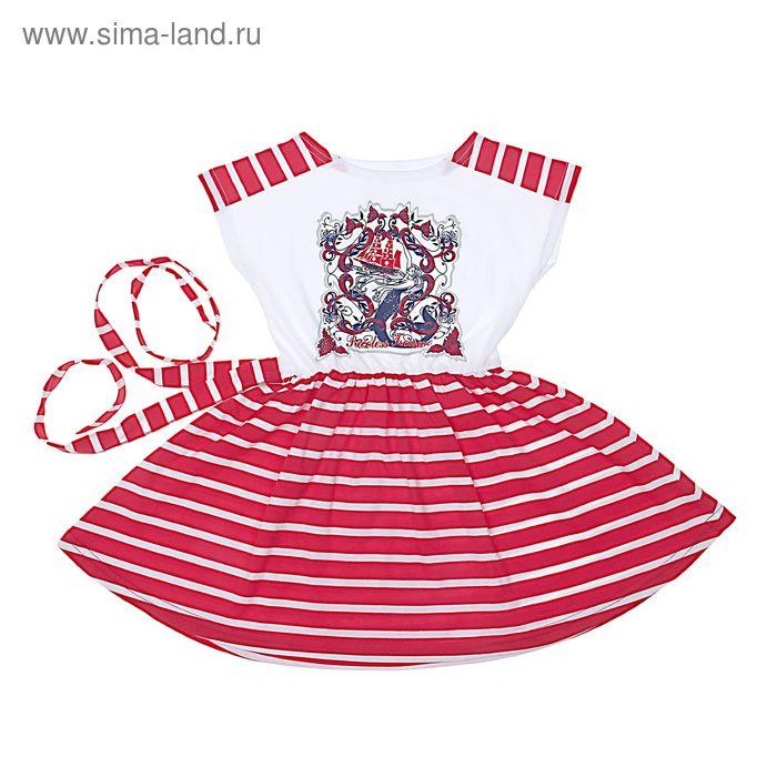 """Платье для девочки """"Каравелла"""", рост 104 см (54), цвет белый/красный полоска (арт. ДПБ224001н)"""