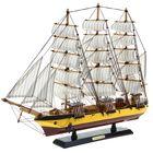 Корабль сувенирный большой «Трёхмачтовый», борт с жёлтой полосой, паруса белые, 60 х 47 х 7 см