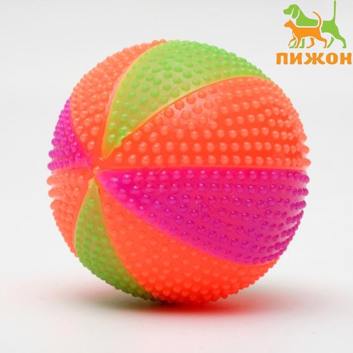 """Мячик светящийся для собак """"Цирковой"""", 6,5 см, микс цветов"""