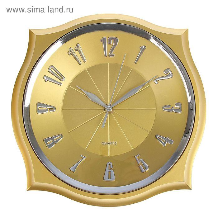 Часы настенные, квадратные, с острыми углами, золотые, 31х31 см