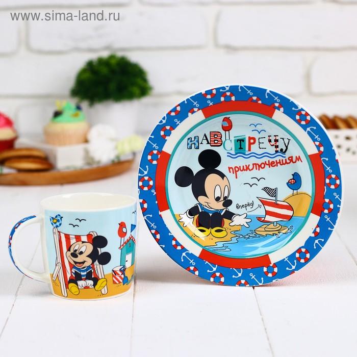 """Набор посуды """"Навстречу приключениям"""" Микки Маус и друзья, кружка 250 мл, тарелка 17 см"""