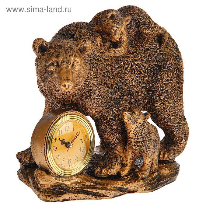 Часы настольные серия Полистоун. Животные. Медведица с медвежатами 26,5*27см