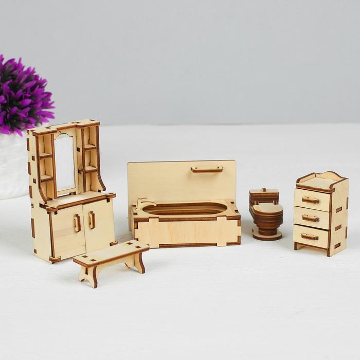 Набор мебели «Ванная» (скамейка, ванна, унитаз, умывальник, шкаф) - фото 105510985