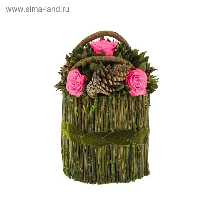 """Декоративная композиция """"Корзинка Лиана"""", 18 х 18 х 26,5 см, розовый"""