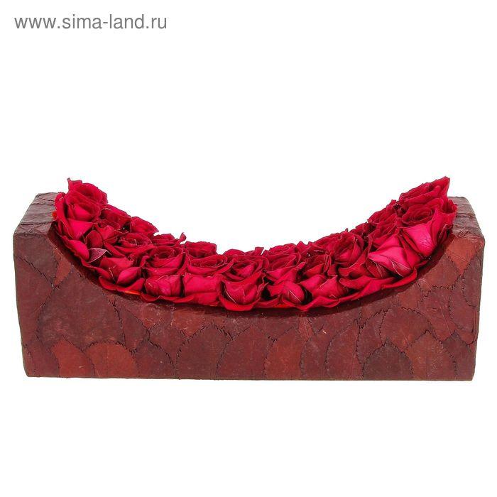 """Декоративная композиция """"Шезлонг"""" из листьев и бутонов роз, 30 х 8,5 х 11 см, красный"""