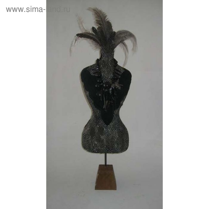 "Декоративная композиция ""Манекен"" из перьев и листьев типучино, 45 х 45 х 160 см"