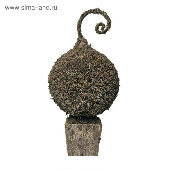 """Декоративная композиция """"Змеиный лавандовый шар"""" в горшке из листьев, 36 х 36 х 74,5 см"""