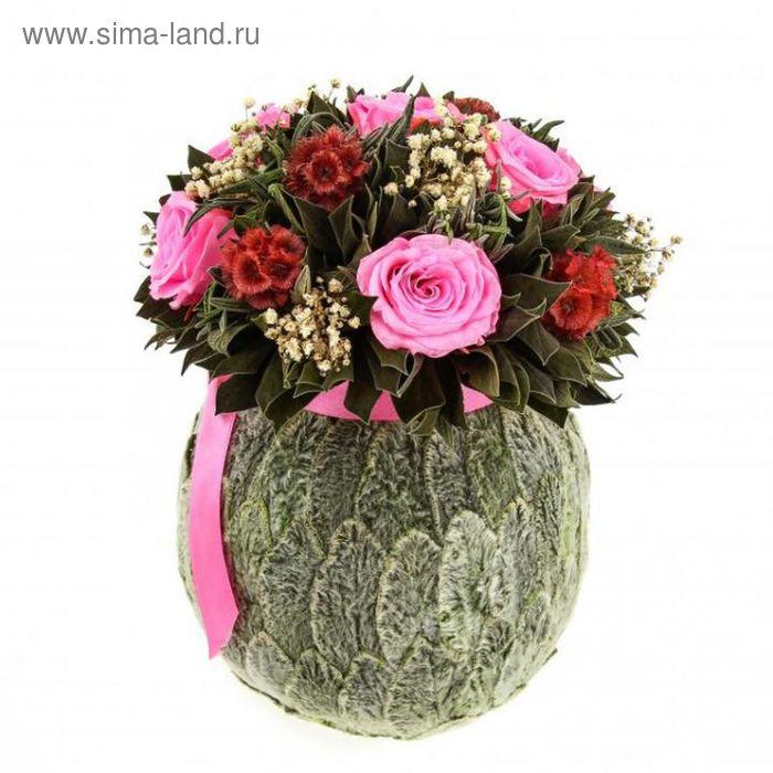 """Декоративная композиция """"Бомбоньер"""" большой, 20 х 20 х 24 см, бутоны роз розовые"""