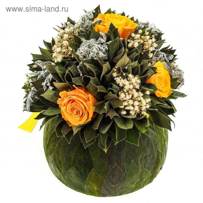 """Декоративная композиция """"Бомбоньер"""" средний, 18 х 18 х 19 см, бутоны роз жёлтые"""