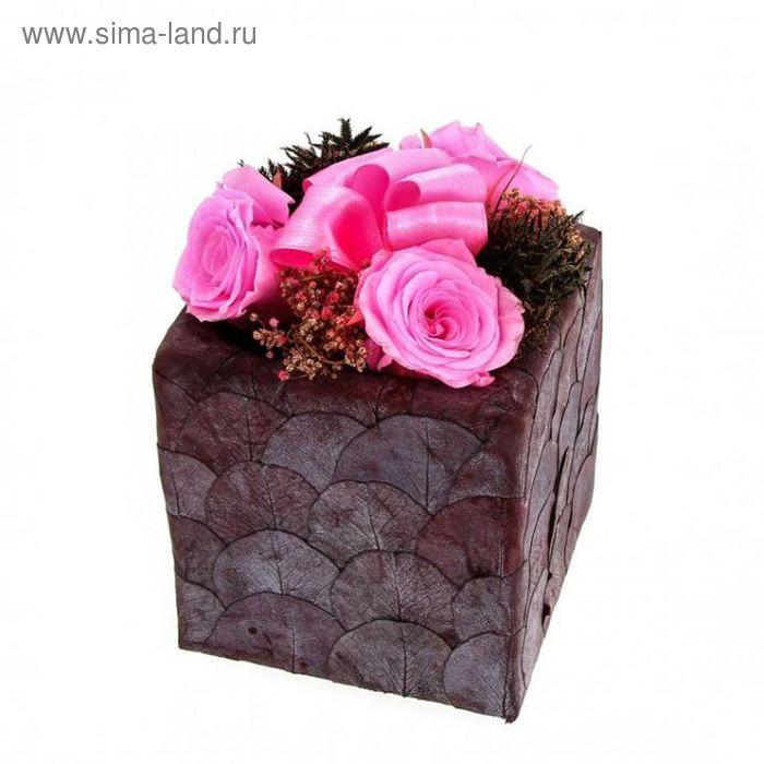 """Декоративная композиция """"Лист эвкалипта бриллиант"""", 10 х 10 х 16 см, розовый"""