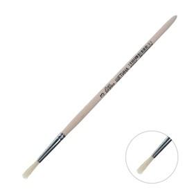 Кисть Щетина круглая № 3 (диаметр обоймы 3 мм; длина волоса 16 мм), деревянная ручка, Calligrata