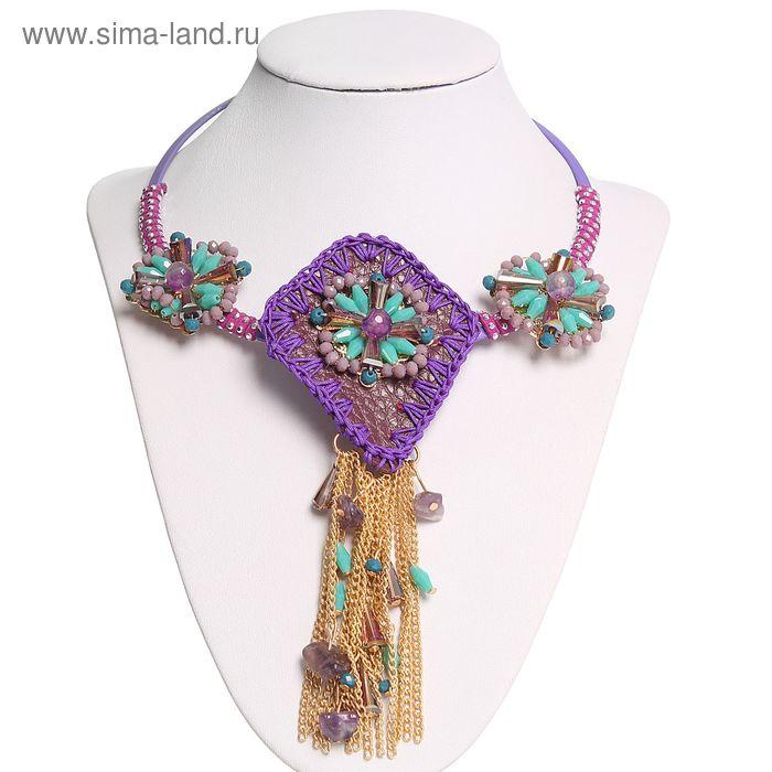 """Колье """"Этника"""", крупное, цвет фиолетовый"""