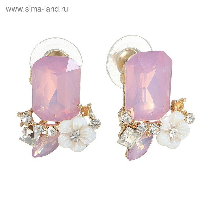 """Серьги с перламутром """"Цветы"""", цвет бело-розовый"""