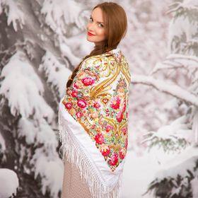 """Платок многоцветный с бахромой Этель """"Новогодние забавы"""", размер 115х115 см, цвет розмарин"""