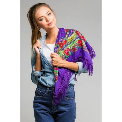 "Multicolor scarf with fringe Ethel ""Christmas fun"", size 70x70 cm, print amaranth"