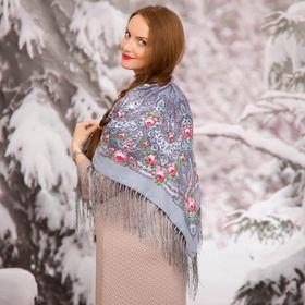 """Платок многоцветный с бахромой Этель """"Новогодние забавы"""", размер 92х92 см, цвет платиновый"""