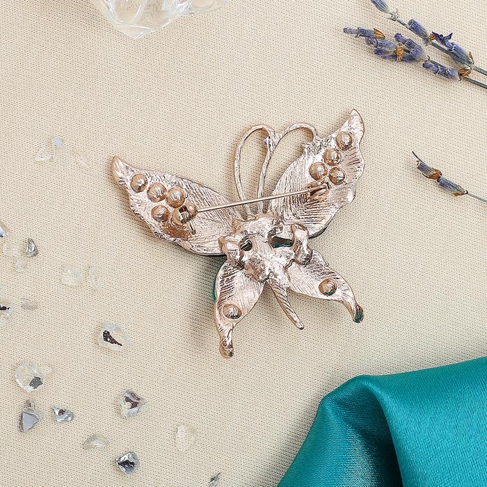 """Брошь """"Бабочка"""" ажурная, цвет чёрно-морской в меди - фото 296942633"""
