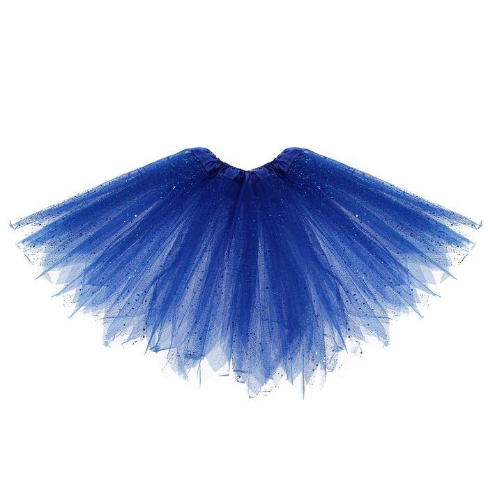 Карнавальная юбка «Блеск», 3-х слойная, 4-6 лет, цвет синий