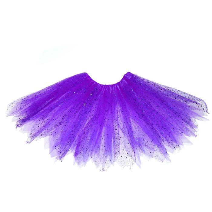 Карнавальная юбка «Блеск», 3-х слойная, 4-6 лет, цвет фиолетовый - фото 724785199