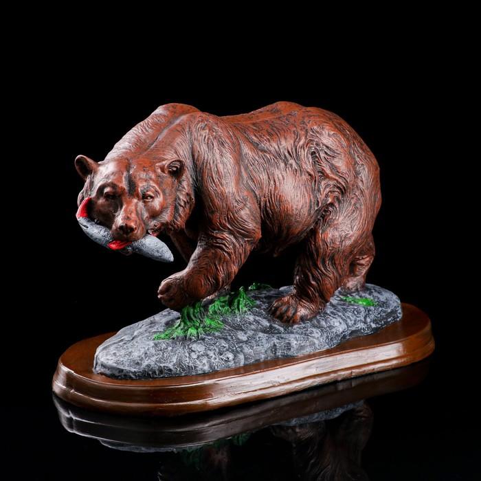 """Сувенир """"Медведь с рыбой"""" 25 см, микс"""