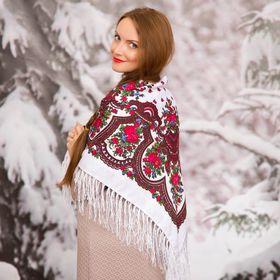 """Платок многоцветный с бахромой Этель """"Новогодние забавы"""", размер 92х92 см, цвет магнолия"""