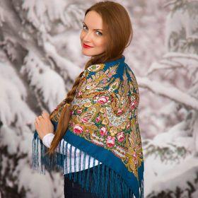 """Платок многоцветный с бахромой Этель """"Новогодние забавы"""", размер 92х92 см, цвет сапфировый"""