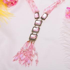 """Кулон на декоративной основе """"Лёгкость"""", цвет розовый в золоте, 80 см"""
